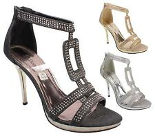 WOMENS HIGH HEEL PLATFORM DIAMANTE LADIES EVENING PARTY PROM BRIDAL SANDALS 3-8