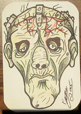 Frankenstein 2015 ACEO Original ATC Art Card Signed by Artist Classic Monster