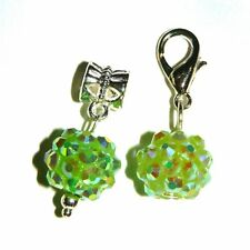 EUROPEAN OR LOBSTER CLASP CLIP ON STYLE GREEN JEWELLED BALLS BEAD DANGLE CHARMS
