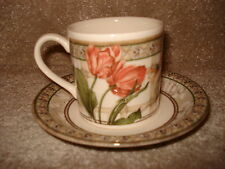 Johnson Bros Enchanted Garden Coffee Cup and Saucer with Fruit and Floral Design