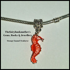 EUROPEAN OR LOBSTER CLASP CLIP ON STYLE ORANGE ENAMEL SEA HORSE DANGLE CHARMS