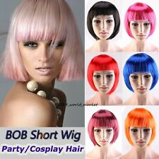 Hot Women Party BOB Short Cut Full Wigs Cosplay Wig Orange Blonde Black Blue Wig