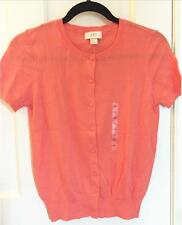 NWT Ann Taylor LOFT Crew Neck Short Sleeve Cotton Cardigan Sweater $40 Coral