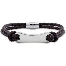 Masculine Mens STAINLESS STEEL Brown or Black LEATHER ENGRAVABLE BRACELET