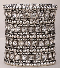 Stretch cuff bracelet bridal wedding party bling jewelry gifts A1 4 row CN