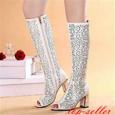 women Lady peep toe Sandals shoes Gladiator Knee HIGH block heels SUMMER BOOTS
