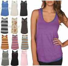 Alternative Ladies Meegs Printed & Stripe Eco-Jersey Racerback Tank Tops 1927e1