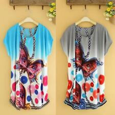Women Batwing Sleeve Loose Print Mini Dress Casual  T Shirt Fashion Blouse Tops