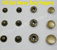 "100 Snap Fastener Press Stud Popper Sewing Rivet Leather Clothing 3/8"" 1/2"" 5/8"""