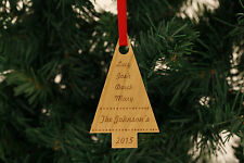 Personalised Christmas Tree Decorations -  Tree Shape Names Baby Family !!