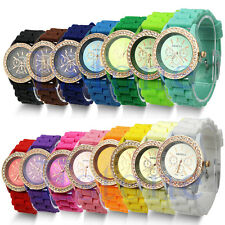 Women's Geneva Silicone Quartz Crystal Stone Jelly Vouge Bracelet Wrist Watch