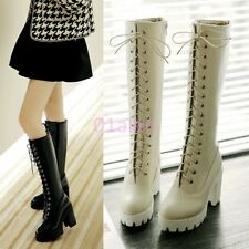 Womens Punk Gothic Lace Up High Block Heel Platform Riding Knee High Boots Shoes