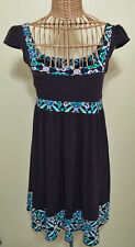 Candie's Brown and Teal Stretch Empire Waist Cap Sleeve Sun Dress Size L