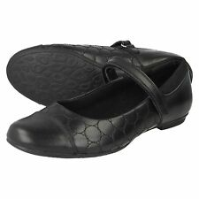 GIRLS CLARKS BLACK LEATHER VELCRO TOE CAP MARY JANE SCHOOL SHOES TIZZ WHIZZ