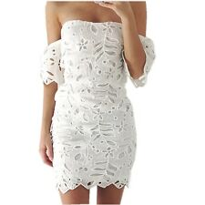 Women Sexy Crocheted Lace Off Shoulder Tube Bandeau Bodycon Cocktail Party Dress