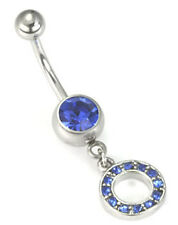 "14g 7/16"" Jeweled Circle Charm Single Jewel Belly Button Ring"