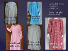 Girl CUSTOM loungewear nightgown cotton flannel long modest pick size & color