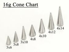 18g-16g Stainless Steel Long Spikes, Bigger Cones Replacement Ends - Price Per 1