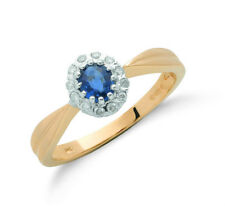 9ct Yellow Gold Real Sapphire Cluster Ring With Diamond 0.60ctw