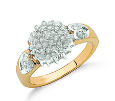 9ct Yellow Gold 0.50ctw Real Diamond Rounds Cluster Ring