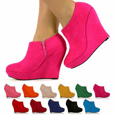BRAND NEW LADIES FASHION PLATFORM SHOES FAUX SUEDE HIGH HEEL WEDGES SIZE 3 - 8