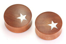 Saba Wood with MOP Star Inlay Double Flare Plug - 12mm - 34mm - Price Per 1