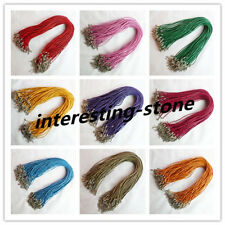 "20Pcs 2mm Mixed Color Real Genuine Leather Cord Clasps rope necklace 18"" S-15"