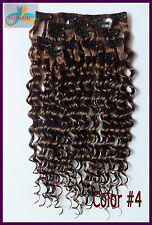 170g 8pcs Deep Wavy Hair Extension Clip In Curly Remy Human Hair Chocolate Brown