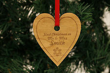Personalised Christmas Tree Decorations Darkwood Hearts - Love Mr & Mrs Baby