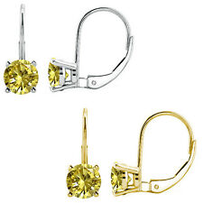 2 Ct Citrine 6mm Round CZ Lever Back Dangling 14K White/Yellow Gold Earrings