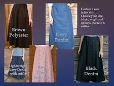 Ladies long full skirt denim jean modest gored blue navy khaki black Plus 4X 5X+
