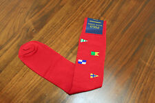 Polo Ralph Lauren Men Red FLAG trouser Dress socks size 10-13