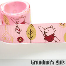 "1""25mm Pink Bear Printed grosgrain ribbon 5/50/100 yards hairbow Wholesale"