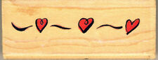 HEART - INKADINKADO 'FUNKY ROW' WOOD MOUNTED RUBBER STAMP. APPROX  7.5CM X 3CM