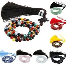 Stone Tassels Buddhist 108 Prayer Beads Tibetan Mala Bracelet Necklace Amulet