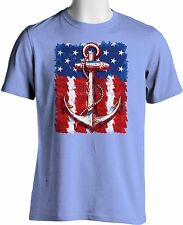 Patriotic American Flag T Shirt Navy Anchor Hipster Small to 6XL