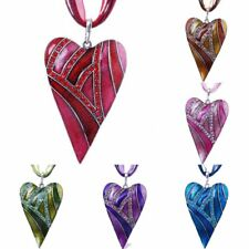Retro Heart Leaf Crystal Rhinestone Pendant Necklace Women Sweater Chain Jewelry