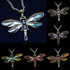 2018 Dragonfly Pendant Necklace Long Chain Crystal Rhinestone Wing Women Gift
