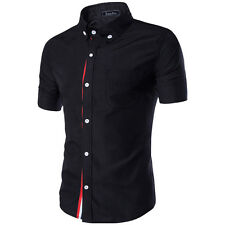 Mens Luxury Casual Formal Shirt Short Sleeve Slim Fit Business Dress Shirts TOP