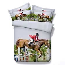3D Bedding Queen Quilt Doona Duvet Cover Bed Sheet Pillowcase Set -Horse Riding2