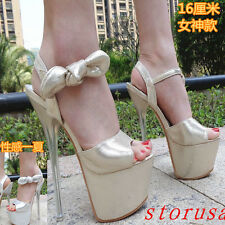 New Sexy Womens Ankle Strappy Super High Heel Platform Pumps Fashion Party Shoes