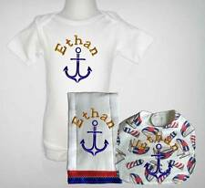 Embroidered Personalized Baby Boy Blue Nautical One Piece Bib and Burp Cloth Set