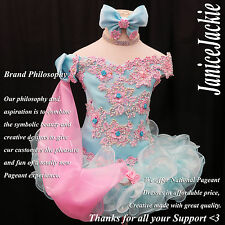 National Pageant Dress Glitz Seafoam Blue Pink 1-2, 3-4, 5-7, 8-10T