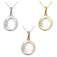 "0.25 CT Diamond Alphabet Letter ""O"" Initial Pendant Necklace 14K White Gold"