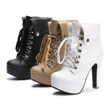 Women's Plus Size Platform High Heels Boots Lace Up Chunky Heel Ankle Shoes new