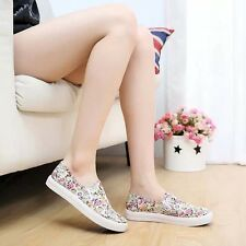 Women's Sweet Floral Convas Shoes Causal Flat Trainers Elastic Slip-on Loafers