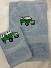 PERSONALISED LAND ROVER TOWEL SET CHRISTMAS GIFT PRES HAND TOWEL AND FACE CLOTH