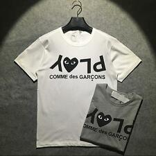 Mens Comme Des Garcons CDG Play Letters 100% Cotton Womens white/grey T-shirts