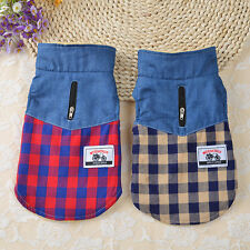 Dog Coat Pet Cute Denim Plaid Thicker Vest Puppy Warm Casual & Fashion Clothes