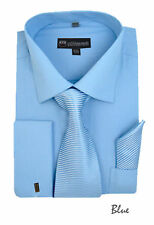New Men's French Cuff Dress Shirt + Matching Tie +Handkerchief Spread Blue #SG27